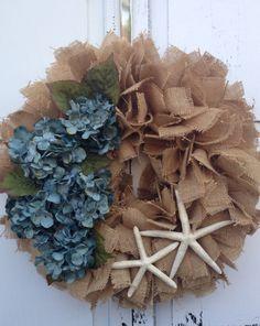 Burlap wreath beach decor beach wreath by KarensCustomWreaths, $76.00