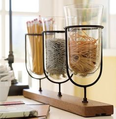 use candle holders for organizing stuff
