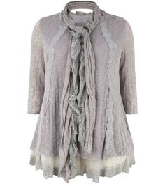 Samya Grey Lace Panel Button Front Layered Top