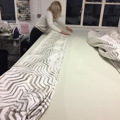 Pleating up and packing the gorgeous Kathrine fabric from @Brochier