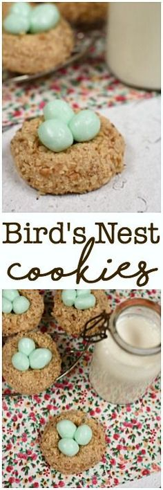Bird's Nest Cookies begin with a simple thumbprint cookie and have homemade candy eggs nestled inside! Easter!