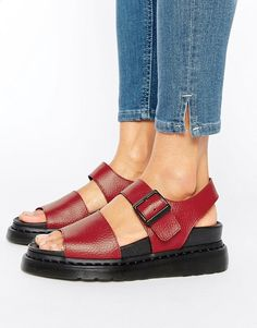Dr Martens   Красные кожаные сандалии Dr Martens Romi