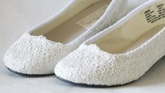 WeDDING LACe FLATS  Little Girl WHITE Ballet Flats  by MaryMarryMe