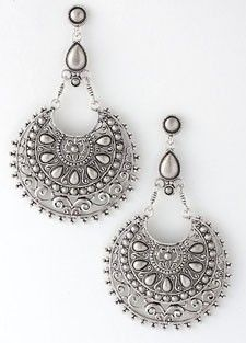 Ornate Filigree Belly Dance Earrings in Silver Silver Earrings, Dangle Earrings, Crochet Earrings, Ethnic Jewelry, Jewellery, Filigree Design, Family Jewels, Tribal Fusion, Belly Dancers