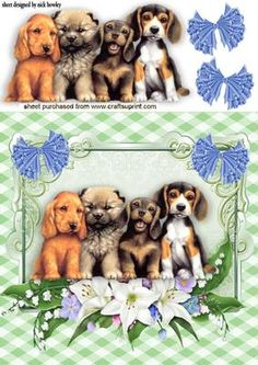 SOOOOOOO CUTE FOUR LITTLE PUPPIES WITH FLOWERS on Craftsuprint - Add To Basket!