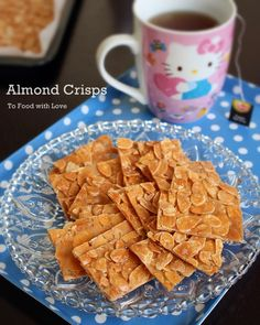 To Food with Love: Almond Crisps (Almond Brittle) Brittle Recipes, Nut Recipes, Almond Recipes, Candy Recipes, Pumpkin Recipes, Cookie Recipes, Snack Recipes, Desert Recipes, Chinese New Year Cookies