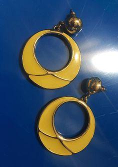 Vintage Bright Yellow Enamel Hoop Earrings with Goldtone trim