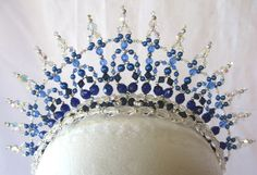 Tiara Princess Royal Blue/Sapphire/Crystal AB Buy Dance tiaras, Swarovski crystal beaded headpieces for ballet dancers
