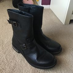 Black boots They are black boots that zip. Only worn a few times--bought at Last Chance-- say size 11 but feel a little small Shoes Ankle Boots & Booties
