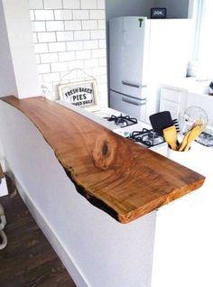 Piano snack top cucina taglio tronco in legno massello 150x35x7 artigianato italiano