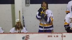 """That's me and Steve Carlson one of the Hanson Brothers in the movie!  """"Slapshot"""" reunion game in Virginia April 2013."""