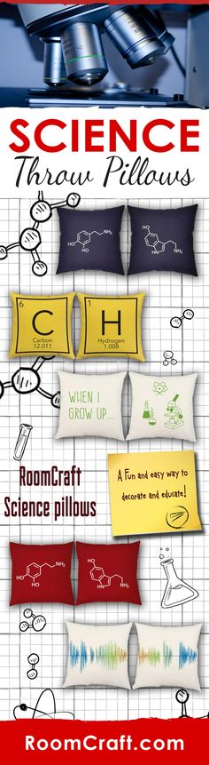 Are you a chemistry teacher or obsessed with science and research? Check out our collection of science throw pillows. Each design is offered in multiple fabrics, colors, and sizes making them the perfect addition to any home, office or classroom. Our quality science pillow covers are made to order in the USA and feature 3 wooden buttons on the back for closure. Choose your favorite and create a truly unique pillow set. #roomcraft