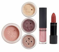 bareMinerals Buzzworthy 6-piece Color Collection 2011 Double-ended lip duo with 0.013-oz lip color in Sticky Buns, a cinnamon rose shade, and 0.08-fl oz lip gloss in Muffin Top, a cotton candy pink shade 0.04-oz Well-Rested for Eyes SPF 20 in Cream Linen 0.03-oz All-Over Face Color in Glee Radiance, a rosy blush shade 0.02-oz eye color in High-Shine Charisma, a pink champagne shade 0.02-oz eye color in Popular, a plum shimmer shade