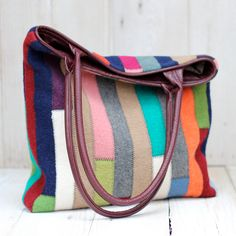 Recycled Sweater Bag - Colorful Patchwork Tote with Recycled Leather Handles. $115,00, via Etsy.