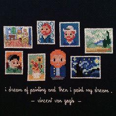 Mini Van Gogh Masterpieces X-stitch Cross Stitch Beginner, Mini Cross Stitch, Modern Cross Stitch, Cross Stitch Designs, Cross Stitch Patterns, Cross Stitching, Cross Stitch Embroidery, Embroidery Patterns, Arte Shop