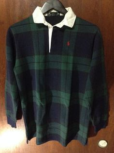 Ralph Lauren Long Sleeve Rugby Green Plaid Polo Shirt Sized XL Made in USA #RalphLauren #PoloRugby