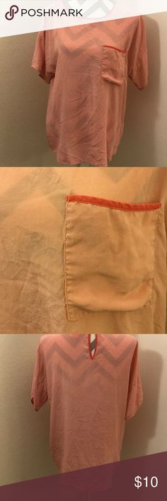 Joe Fresh Pink Silk Blouse T-Shirt styling with chest pocket accent. Light pink body with fuchsia trim. 100% silk. Joe Fresh Tops Blouses