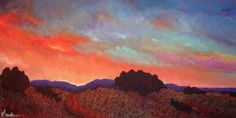 BIG SKY NEW MEXICO a beautiful fiery sunset, painting by artist Dee Sanchez