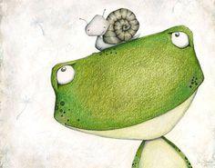 Sweet Frog Wall Art, Frog Nursery Decor, Cute Nursery Animal Decor, Animal Prints for Nursery Boys Frog Prints for Boys Room - Illustration - Frog Nursery, Baby Animal Nursery, Nursery Wall Art, Nursery Decor, Nursery Prints, Selling Handmade Items, Childrens Wall Art, Cute Frogs, Animal Decor