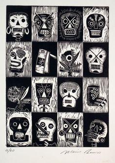 #linocut #skulls #pattern #illustration