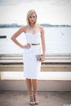 Laura Vandervoort gorgeous in white Alex Perry dress via @Huff Post Style #fashion