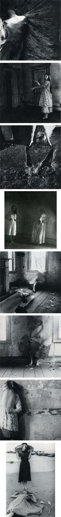 Francesca Woodman's photographs explore issues of gender and self, looking at the representation of the body in relation to its surroundings. She usually puts herself in the frame most often. These are not conventional self-portraits, since as she is either partially hidden, or concealed by slow exposures that blur her moving figure into a ghostly presence. This underlying fragility is emphasised by the small and intimate format of the photographs.
