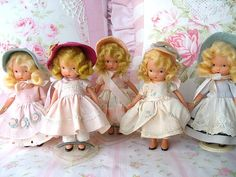 This is my personal collection of the Bisque Nancy Ann Dolls. The one  in the middle is my favorite !!! Restoring these sweet dolls is  hobby  of mine.