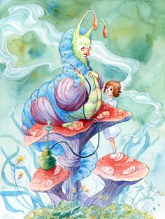 Alice and Caterpillar by AniaMohrbacher.deviantart.com on @deviantART
