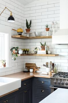 styled open shelving