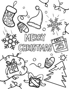 Printable Merry Christmas coloring page. Free PDF download at http://coloringcafe.com/coloring-pages/merry-christmas/