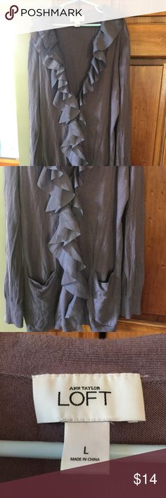 LOFT Button-Up Ruffle Cardigan Beautiful, purpley, gray color! Perfect for fall! No tears, stains, or fading! Love this cardigan, but not the price? Make me an offer! ❤️ LOFT Sweaters Cardigans