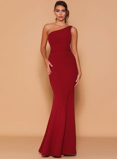 A stunning full length dress by Les Demoiselle LD1121. A one shoulder style featuring fitted hourglass shape. Wine Bridesmaid Dresses, Hourglass Shape, Crepe Fabric, All The Colors, Casual Outfits, One Shoulder, Gowns, Formal Dresses, Womens Fashion