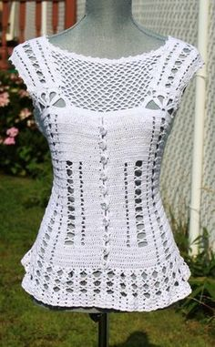 Classy Crochet Tank  Top  Made to Order in any size by DearAlina, $109.00