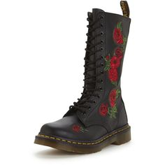 Dr Martens Dr Marten Vonda Embroidery W 14- Eye Boot (5455 TWD) ❤ liked on Polyvore featuring shoes, boots, embroidered shoes, dr martens boots, dr martens shoes, dr martens footwear and dr. martens