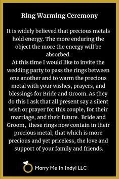 Ring Warming script for your wedding ceremony. Ring Warming script for your wedding ceremony....  #ceremony #Ring #script