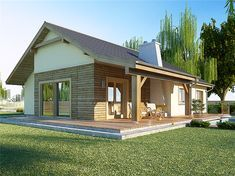 Zdjęcie projektu AJR 03 wersja A1 z garażem WOJ1016 My House Plans, Simple House Plans, House Layouts, Design Case, Backyard Landscaping, Sweet Home, Cottage, House Design, Mansions