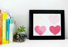 DIY a Gradient Heart Print for your Valentine's Day decor! Home Board, Arts And Crafts, Diy Crafts, Heart Print, Diy Wall Art, Art Projects, Project Ideas, Art Tutorials, Valentines Day
