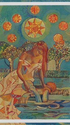 The origins of the Tarot are surrounded with myth and lore. The Tarot has been thought to come from places like India, Egypt, China and Morocco. Others say the Tarot was brought to us fr Aquarius Art, Tarot Readers, Major Arcana, Oracle Cards, Tarot Decks, Archetypes, Occult, Stars, Aquarius