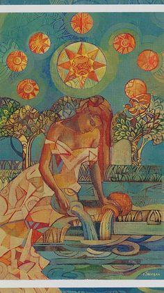 Greek Mythology Moon Goddess Selene by Albert Aublet 7x5 Inch Print