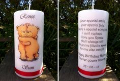 Personalised candle printed front & back.  Sent to a loved one overseas.