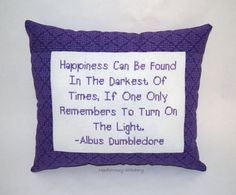 Harry Potter Cross Stitch Pillow Purple Pillow by NeedleNosey, $28.00