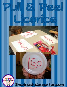 Letter L with pull and peel licorice! Actuallly you can make almost anything! Letters, numbers, shapes, words