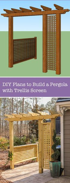 Outdoor Decorating/Gardening : Build a Pergola with Trellis to Screen Your Trash Cans Patio Pergola, Wooden Pergola, Pergola Plans, Pergola Kits, Diy Patio, Pergola Screens, Pergola Ideas, Backyard Projects, Outdoor Projects
