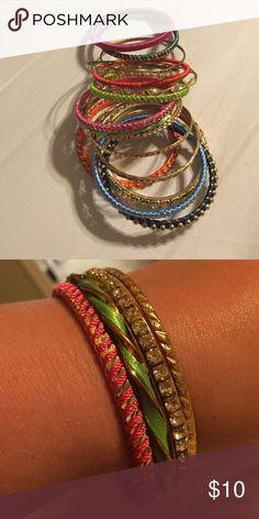 Bangle Bracelets Lot of 16 gold/multicolored bangles! Super cute for summer! Jewelry Bracelets