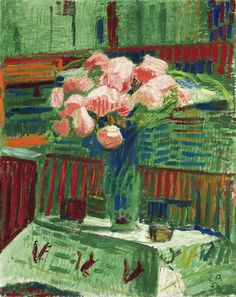 Cuno Amiet  Bouquet with Roses  1958  http://stilllifequickheart.tumblr.com/post/1069954367/cuno-amiet-bouquet-with-roses-1958