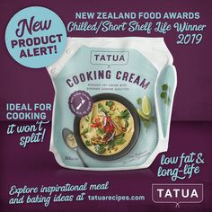 Low fat, long-life cream with superior cooking qualities. It has excellent heat stability, so you can add lemon juice, wine or vinegar and it won't split.  Ideal for sweet and savoury cooking,including sauces and soups. It is awesome for creating low fat dishes without compromising on taste or texture. It is not suitable for whipping. New Zealand Food, Cooking Cream, Shelf Life, Stability, Vinegar, Sauces, Juice, Lemon, Fat