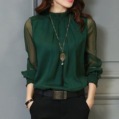 Chiffon Blouse 2018 New Women Tops Long Sleeve Stand Neck Work Wear Shirts Elegant Lady Blouses Casual Solid Color Blusas You will get this dress different types of colors like green, White, Blue and Wine Black. Mode Outfits, Casual Outfits, Winter Outfits, Pantalon Slim Noir, High Neck Blouse, Sheer Blouse, Black Blouse, Black Pants, High Neck Dress