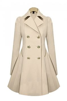 Love love LOVE! The Pleated Back of this Coat is AWESOME! Double-Breasted Long Sleeves Trench Coat Outerwear