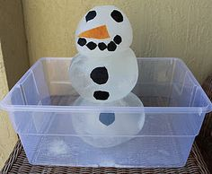 The Snowman Experiment - compare the melting of an indoor vs. outdoor snowman. Snowmen made of balloons filled w/water.