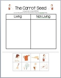 The Carrot Seed - Living vs. Non Living Sorting Activity Kindergarten Units, Preschool Books, Preschool Lessons, Kindergarten Activities, Sorting Activities, Book Activities, The Carrot Seed Activities, Growing Lima Beans, Living Room Crafts